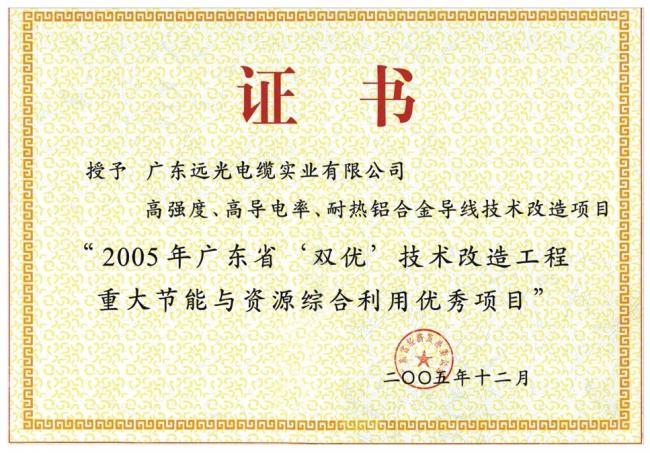 """2005年广东省""""双优""""技术改造工程重大节能与资源综合优秀项目"""