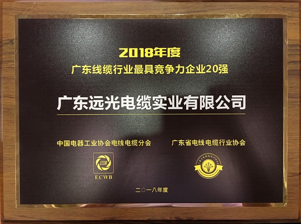 2018年度广东线缆行业最具竞争力企业20强